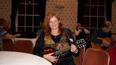 Pauline with mandolin, Stirling folk club 2012